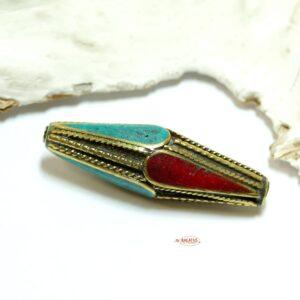 Tibetperle türkis rot ca. 52×14 mm