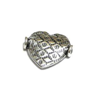 Herz mit Muster 925 Silber geschwärzt Ø 16×14 mm