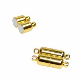 Magnetverschluss länglich oval 20x6mm Metall, gold