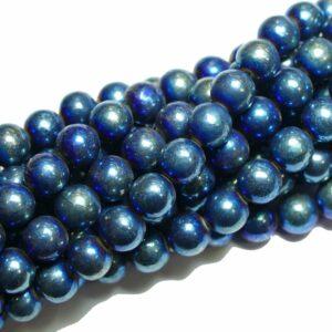 Boules de pyrite bleu brillant 8 mm, 1 fil