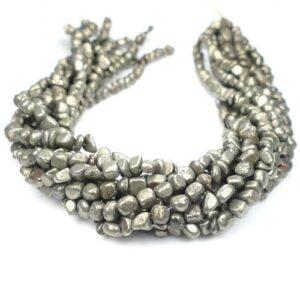 Pyrite nuggets 4 x 6 mm, 1 strand
