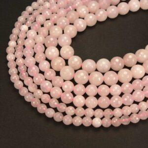 Boule de quartz rose facettée 2-16 mm, 1 fil