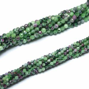 Sfera di zoisite rubino sfaccettata 2 – 4 mm, 1 filo