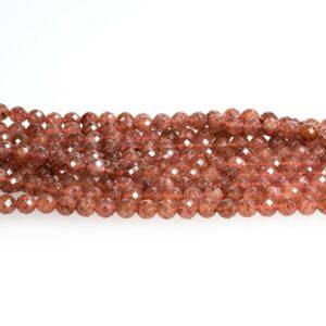Boule de quartz rubis facettée vieux rose 8mm, 1 fil