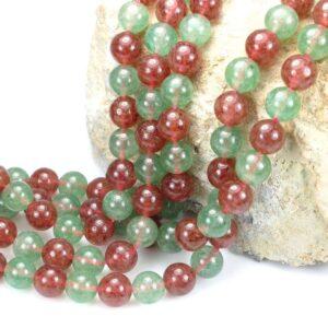 Ruby quartz plain round red green 8 mm, 1 strand