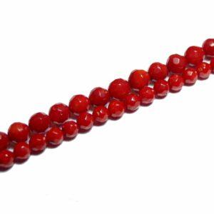 Schaumkoralle Kugel facettiert rot 3 – 8 mm, 1 Strang