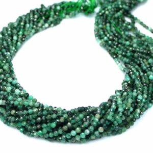 A-Grade Smaragd Kugel facettiert 3 mm, 1 Strang