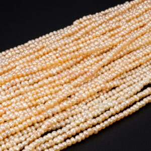 Freshwater pearls potatoes pink 3 – 4 mm, 1 strand
