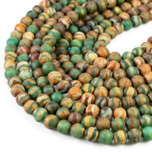 Boule en agate du Tibet vague mate marron vert 6 – 10 mm, 1 fil