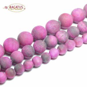 Tigerauge Kugel matt pink 6 – 10 mm, 1 Strang