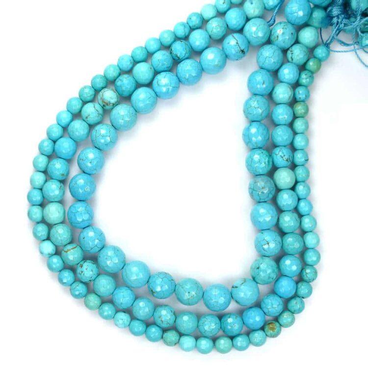 Boule turquoise facettée 4-10mm