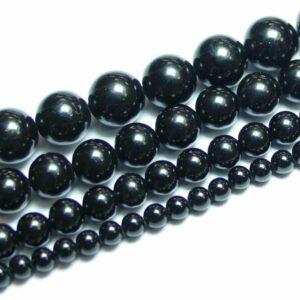 Turmalin Kugel glanz schwarz 4 – 12 mm, 1 Strang