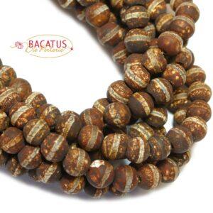 Boule d'agate du Tibet bandes marron mat 6-8 mm, 1 fil