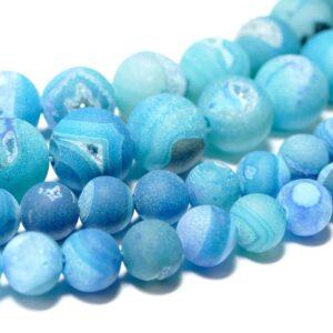 Achat Kugel matt blau Drusen 8 – 16 mm, 1 Strang