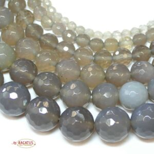 Achat Kugel facettiert natur grau 2 – 16 mm, 1 Strang
