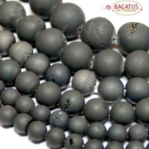 Achat Kugel drusen matt schwarz 6 – 16 mm, 1 Strang