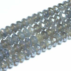 Achat Rondelle facettiert grau-silber 5×8 mm, 1 Strang