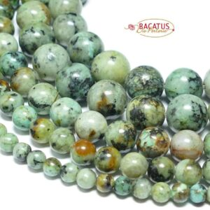 Boules turquoises africaines brillantes 2-10 mm, 1 fil
