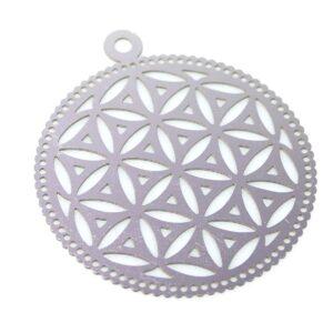 Disque pendentif motif olive acier inoxydable 28 mm