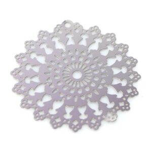 Blume Anhänger Scheibe Edelstahl 25 mm