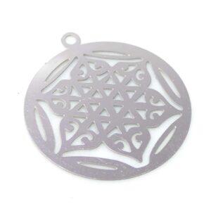 Disque pendentif fleur de lotus acier inoxydable 23 mm