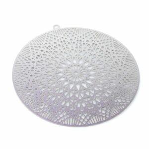 Disque pendentif motif étoile acier inoxydable 43 mm