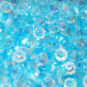 Crystal beads Bicone PRECIOSA aquamarine 2AB 4 mm