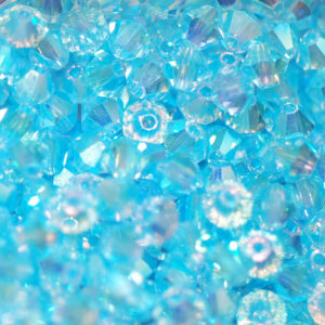 Kristallperlen Bicone PRECIOSA aquamarine 2AB 4 mm