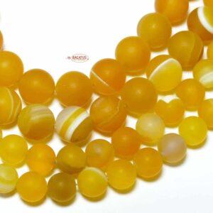 Nastro agata pallina giallo opaco 6 – 10 mm, 1 capo