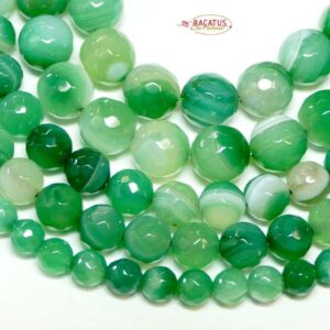 Band agate plain round faceted green 6 – 10 mm, 1 strand