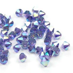 Kristallperlen Bicone PRECIOSA tanzanite 2AB 6 mm