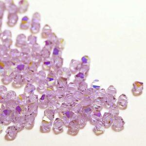 Kristallperlen Bicone PRECIOSA violet AB 3 – 6 mm