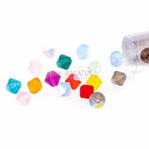 Kristallperlen Bicone PRECIOSA bunt matt 6 mm