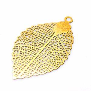 Disque pendentif feuille d'or acier inoxydable 39×22 mm