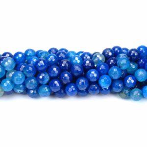 Achat Kugel facettiert gecrackt blau 8 mm, 1 Strang