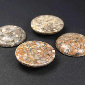 Ozeanische Fossilien Cabochon 30 mm, 1 Stück