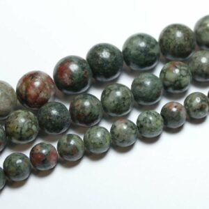 Chinese ruby zoisite plain round shades of green 12 mm, 1 strand