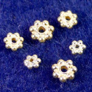 Zwischenteil Daisy Spacer 925 Silber *vergoldet* Ø 3-5 mm