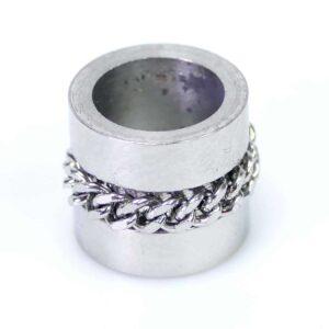 Cylindre à grand trou avec chaîne en acier inoxydable 10x9mm
