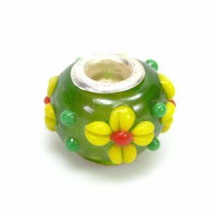 Großlochperle Glas Grün mit Blume 15x10mm