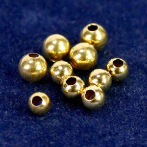 Kaschierperlen großes Loch 925 Silber *vergoldet* Ø 4,5-6 mm