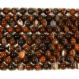 Achat Kugel glanz rot weiß 16 mm, 1 Strang