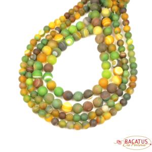 Ribbon agate plain round matt green yellow 6 – 10 mm, 1 strand