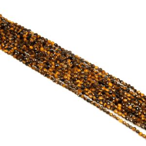 Tigerauge Münzen facettiert gold-braun ca. 4 mm, 1 Strang