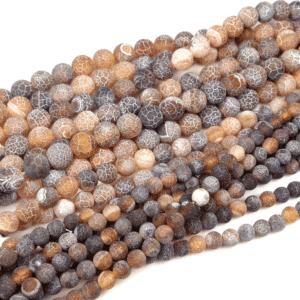 Boule d'agate craquelée marron mat 4-12 mm, 1 fil
