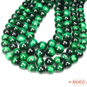 Tigerauge Kugel glanz grün 4 – 12 mm, 1 Strang