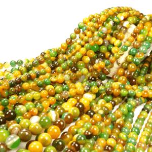 Ribbon agate plain round green yellow 4 – 12 mm, 1 strand