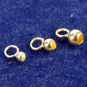 Kalotten Endteil große Öse geschlossen 925 Silber *vergoldet* Ø 3-8 mm