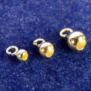 Kalotten Endteil kleine Öse offen 925 Silber *vergoldet* Ø 3-6mm