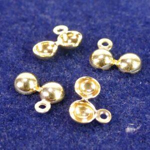 Quetschkalotten Klappkapseln ohne Loch 925 Silber *vergoldet* Ø3-5mm